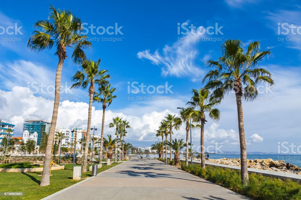 Molos Park in Limassol, Cyprus stock photo