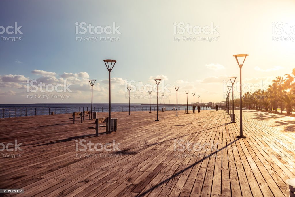 Molos Promenade on the coast of Limassol city, Cyprus stock photo
