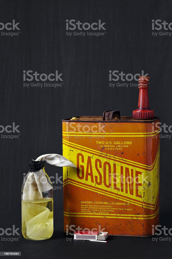 Molotov Cocktail with Gas Can and Matches royalty-free stock photo