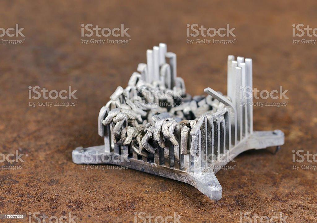 Molten Aluminium Heat Sink In Rusty Background Stock Photo