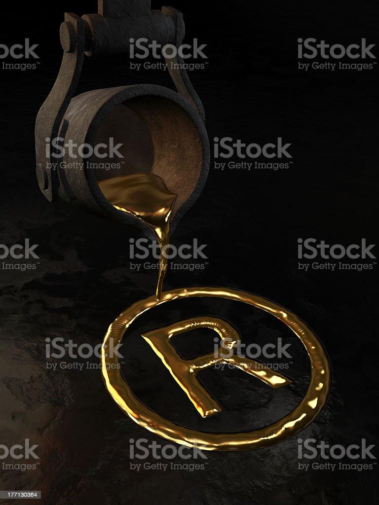 Molten gold - Trademark symbol stock photo