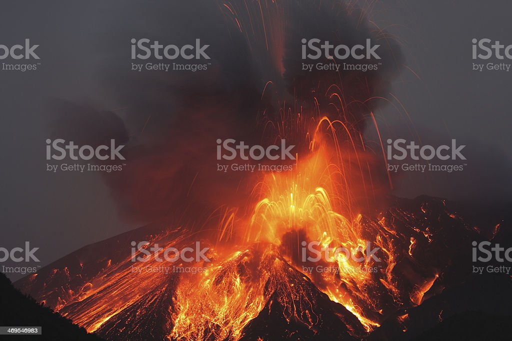 Molten lava erupts from Sakurajima Kagoshima Japan stock photo