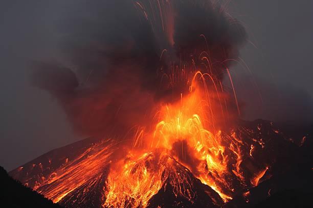 Molten lava erupts from Sakurajima Kagoshima Japan stock photo