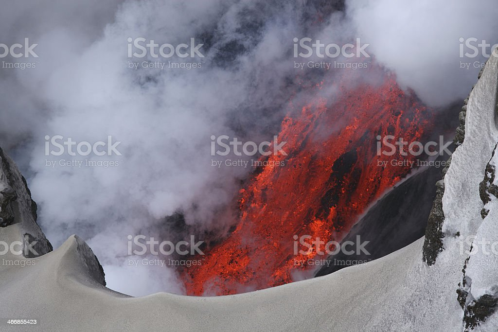 Molten lava flowing from Eyjafjallajokull Fimmvorduhals Iceland stock photo