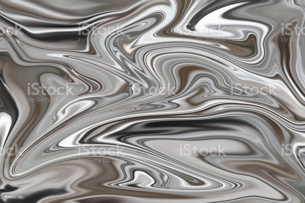 Molten silvered swirling background stock photo