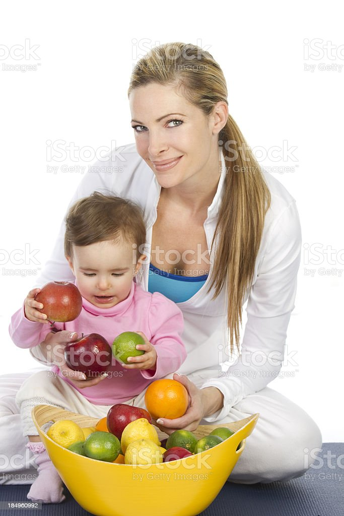 mom and baby with fruit royalty-free stock photo