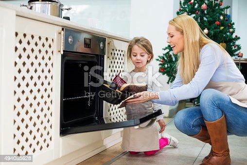 494086690istockphoto Mom and daughter are preparing  cake for Christmas - Kugelhupf 494085628