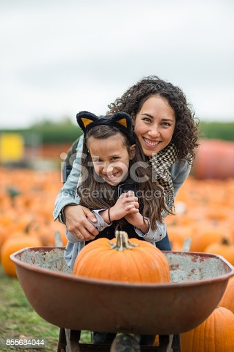 Mom crouches down to pose with her daughter, who is dressed up like a cat, in a wheelbarrow in a big pumpkin patch field. They both have big smiles.