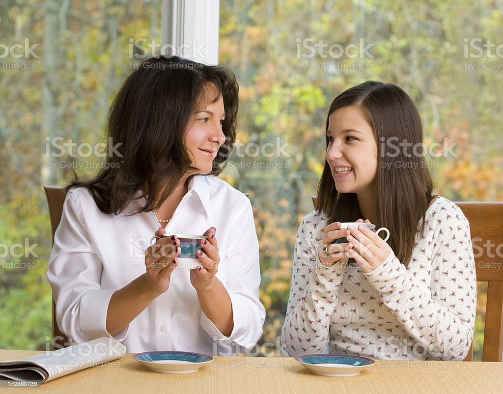 Mom and Daughter Chatting royalty-free stock photo