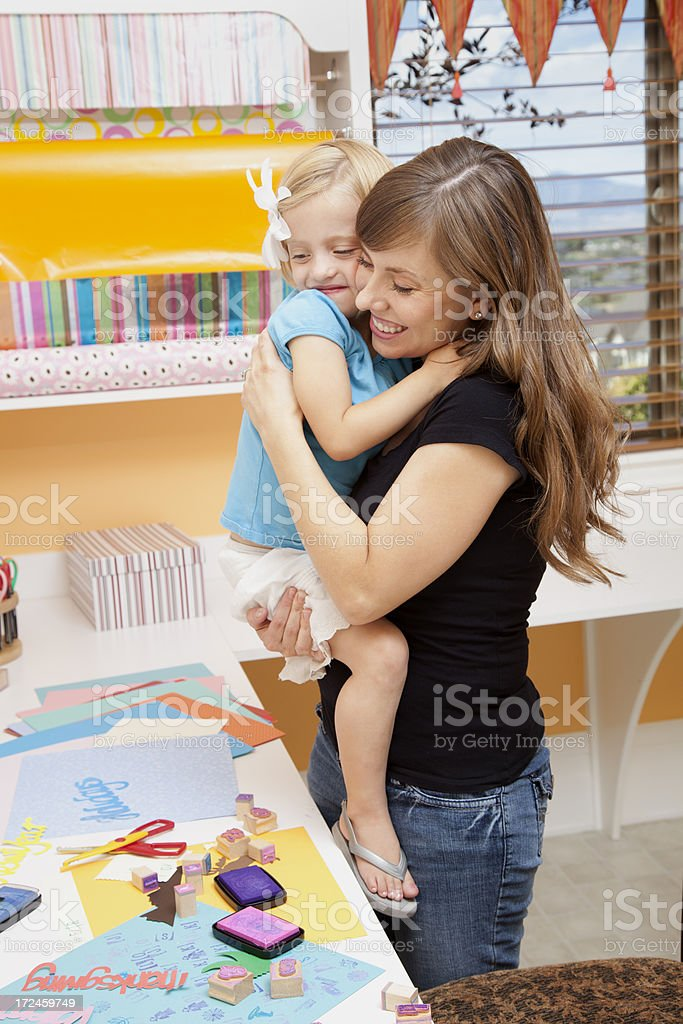 Mom and Daughter Crafting royalty-free stock photo