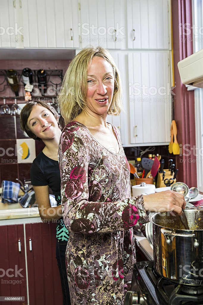 Mom and Daughter in the Kitchen royalty-free stock photo