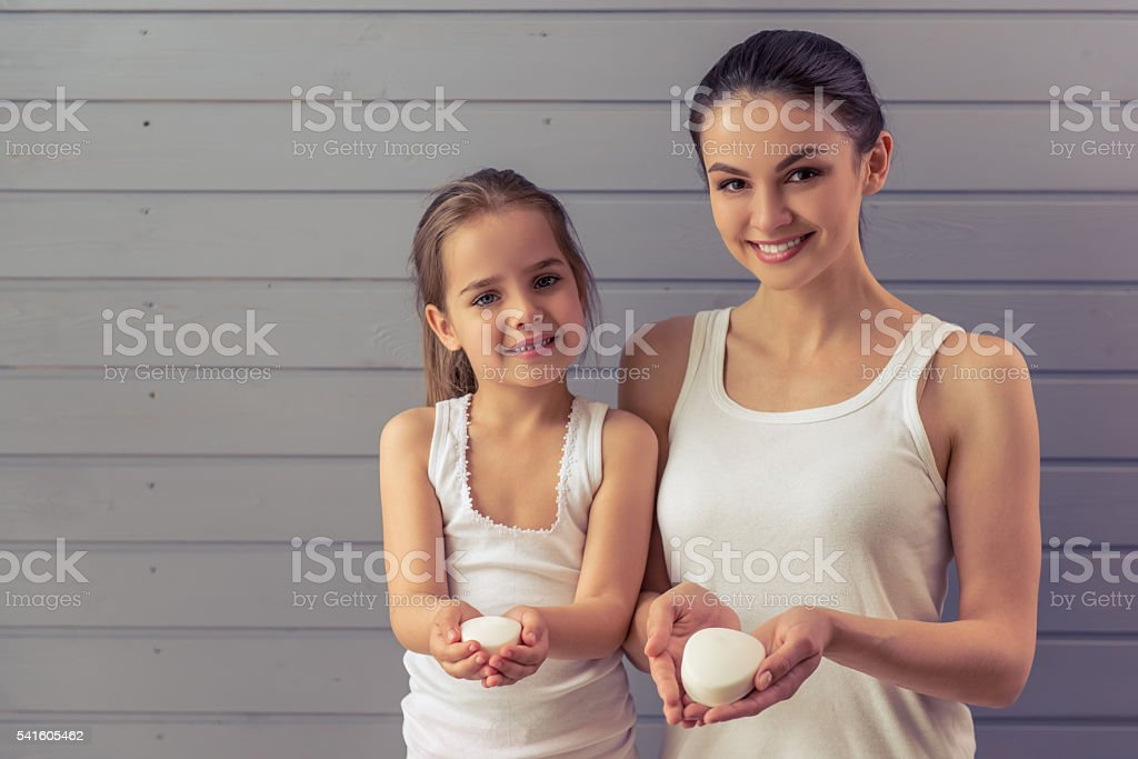 Mom and daughter stock photo