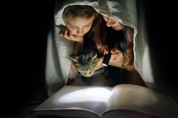 mutter und tochter lesen märchen im dunkeln unter einer decke für das buch mit einer taschenlampe. - deckenleuchte kinderzimmer stock-fotos und bilder