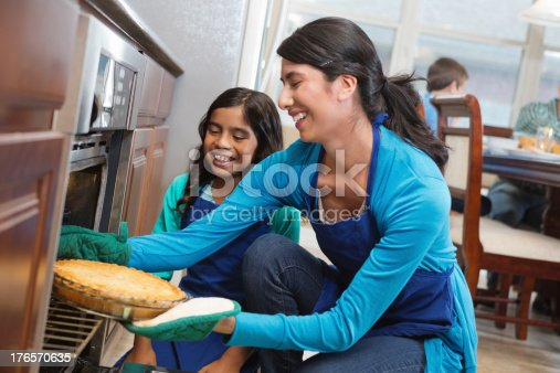 istock Mom and daughter removing apple pie from oven in kitchen 176570635