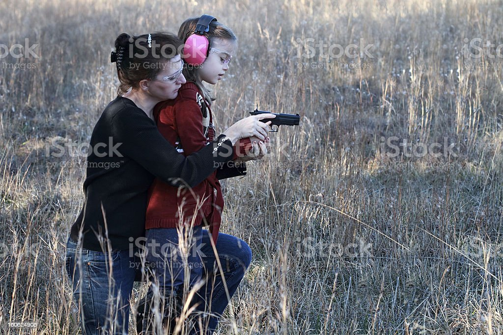 Mom and Daughter Shooting stock photo