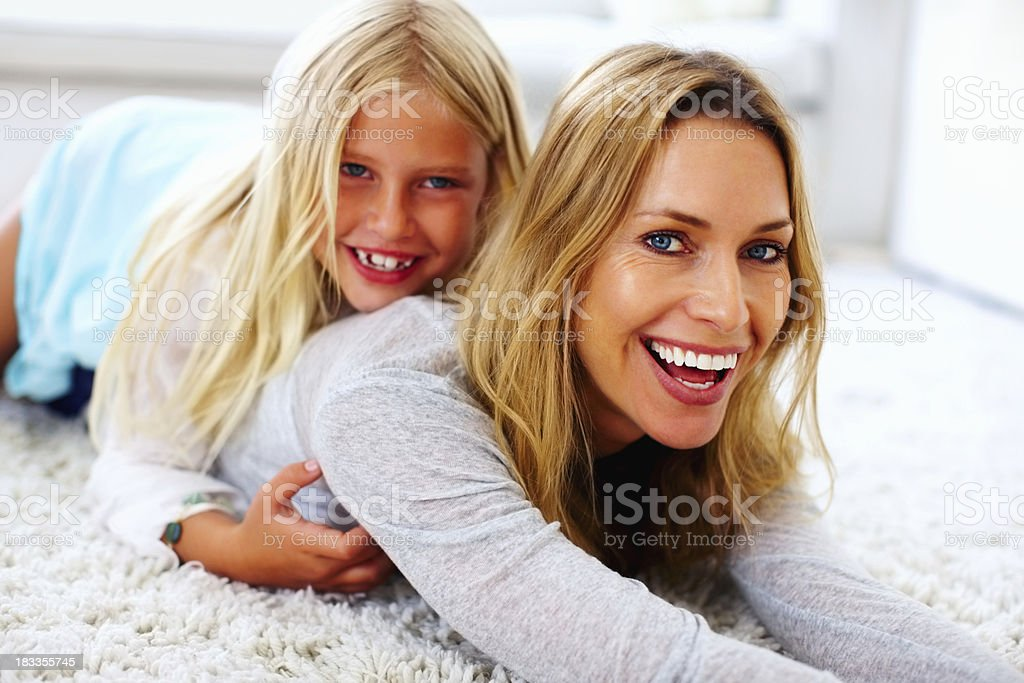 Mom and daughter smiling royalty-free stock photo