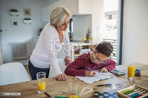 680535874 istock photo Mom and son doing homework 1068460236