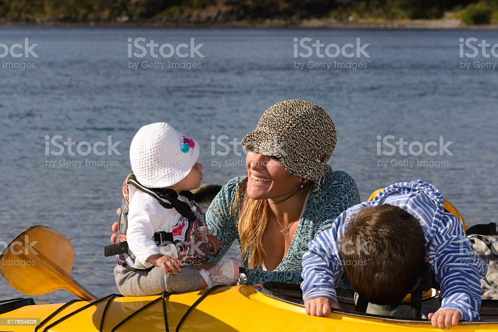 Mom and Son Enjoying stock photo