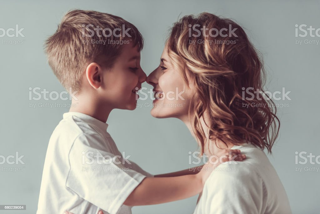 Mom and son stock photo