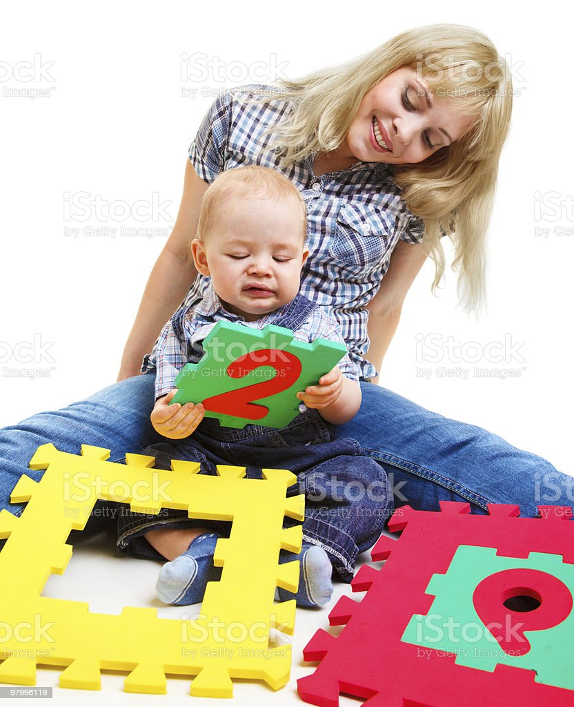 Mom and son playing royalty-free stock photo
