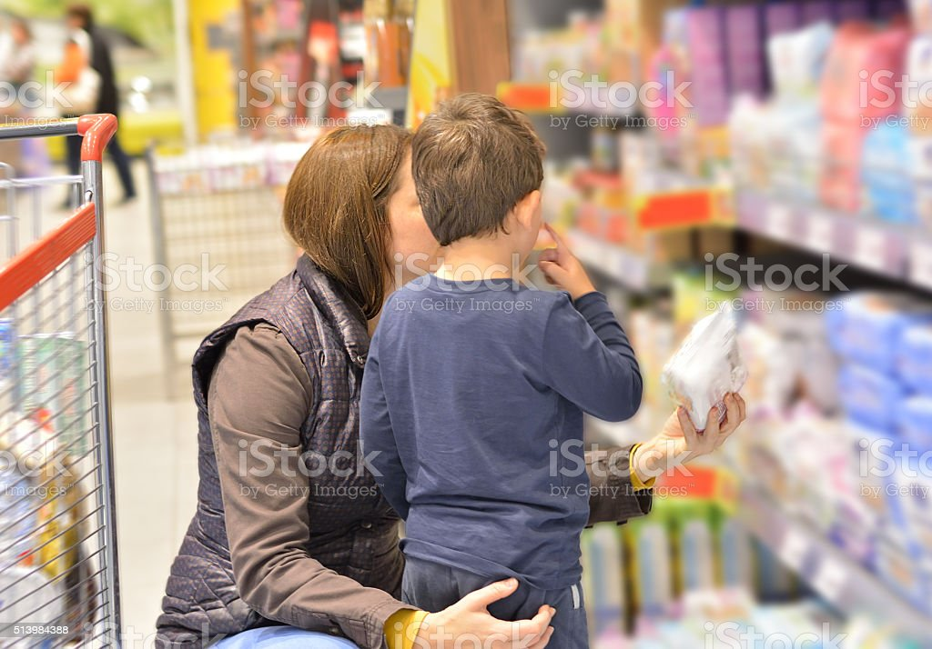 Mom and Son Shopping stock photo