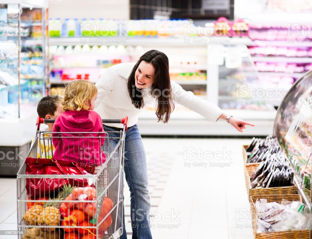 Mom and the kids shopping royalty-free stock photo