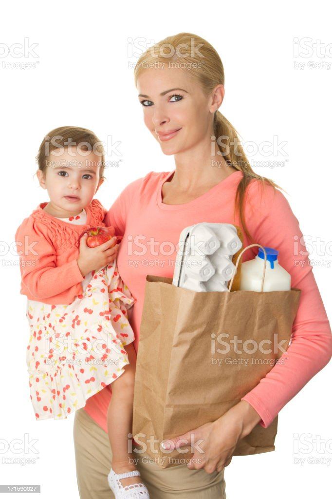 mom and toddler at supermarket royalty-free stock photo