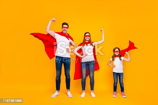 Mom dad and little foxy, lady playing cartoon characters wear superhero capes isolated yellow background