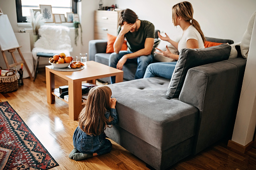 Parents have relationship issues, arguing and fighting, wreak one's anger on kid