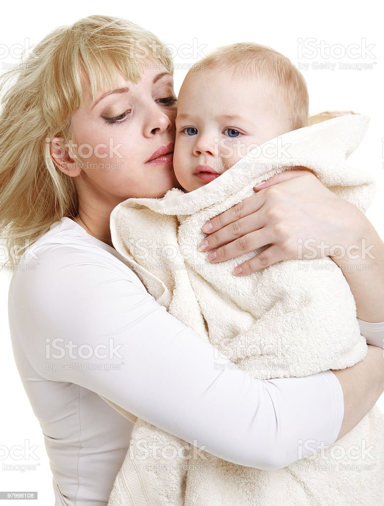 Mom embracing baby royalty-free stock photo