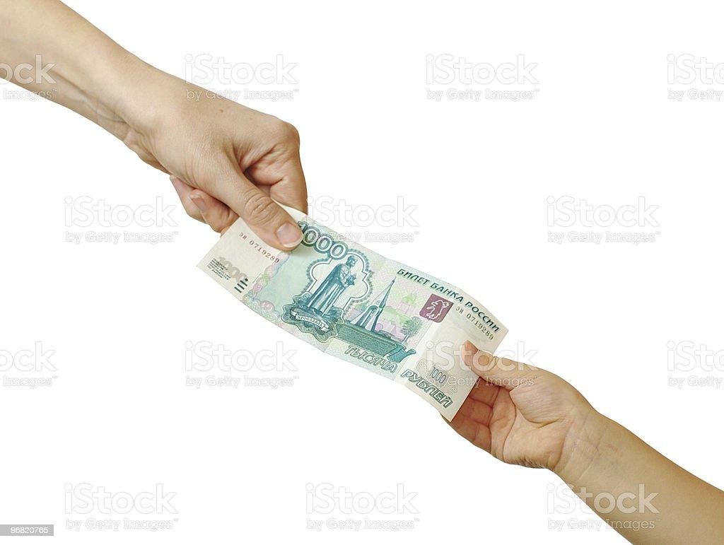 Mutter gibt Tasche Geld zu Ihrem Sohn – Foto