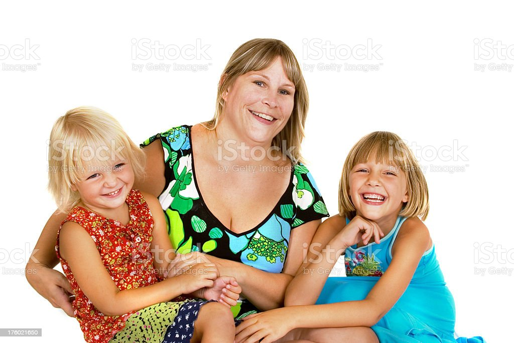 Mom having fun with daughters royalty-free stock photo