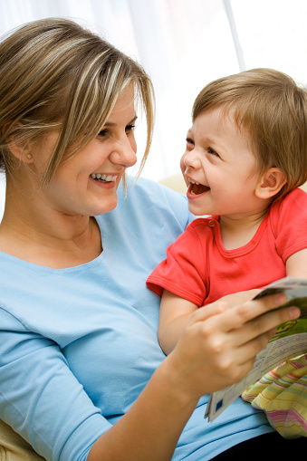 Mom Having Story Time With Her Young Son Stock Photo -7994
