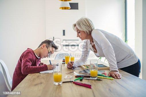680535874 istock photo Mom helps son with homework 1068463164