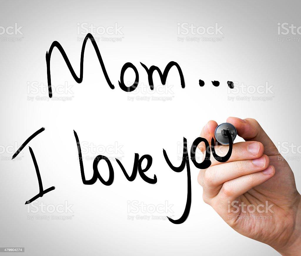 Mom I Love You written on the Wipe board stock photo