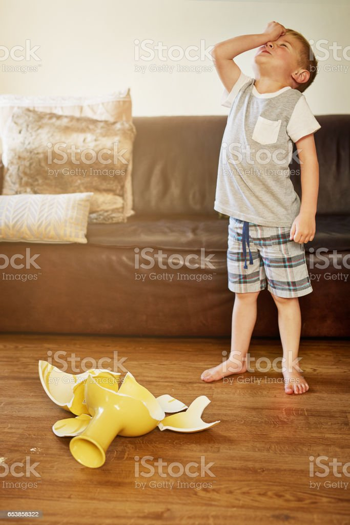 Mom is going to freak out! stock photo