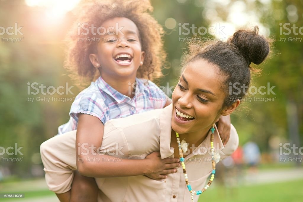 Mom is my hero. stock photo