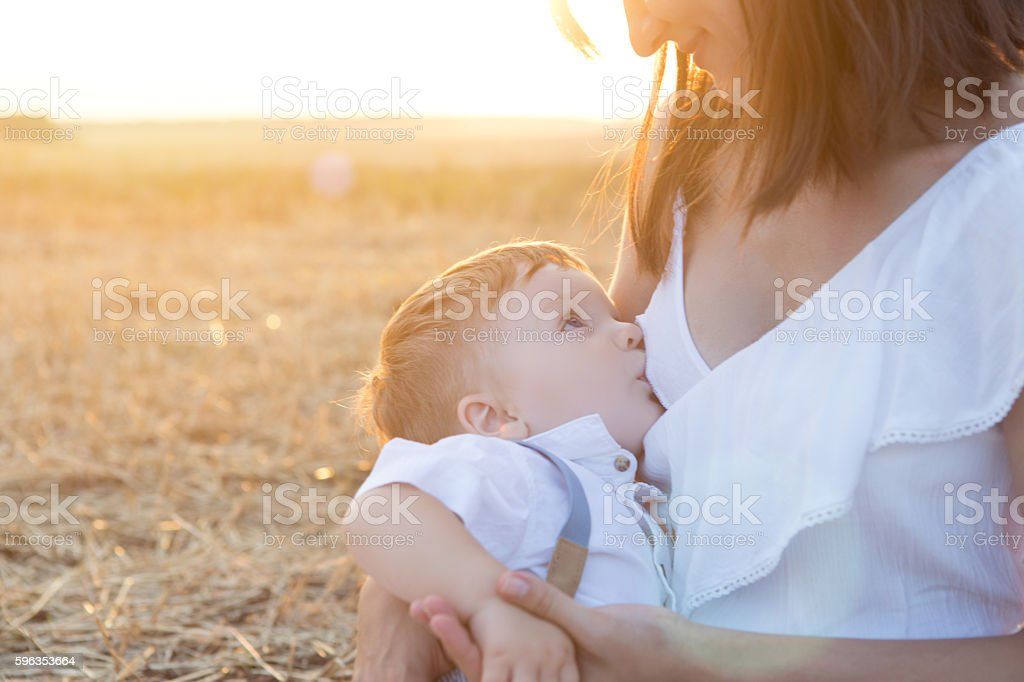 Mom is nursing her child in nature. royalty-free stock photo
