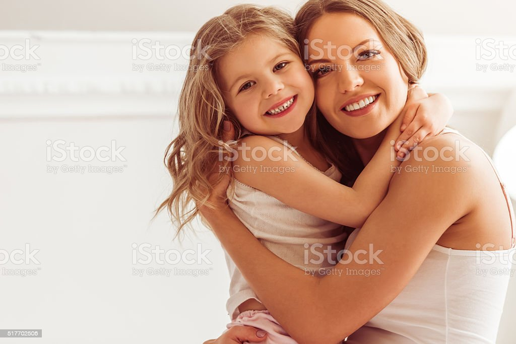 Mom with daughter stock photo