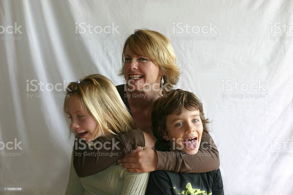 Mom with Two Kids royalty-free stock photo