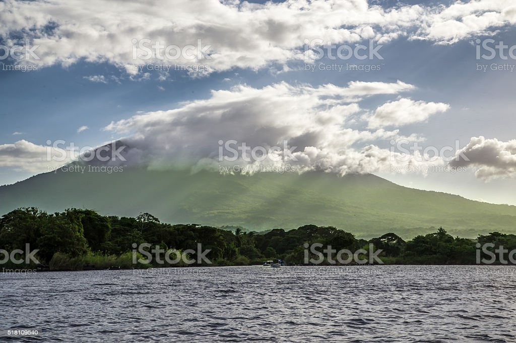 Mombacho volcano view from water in Nicaragua stock photo