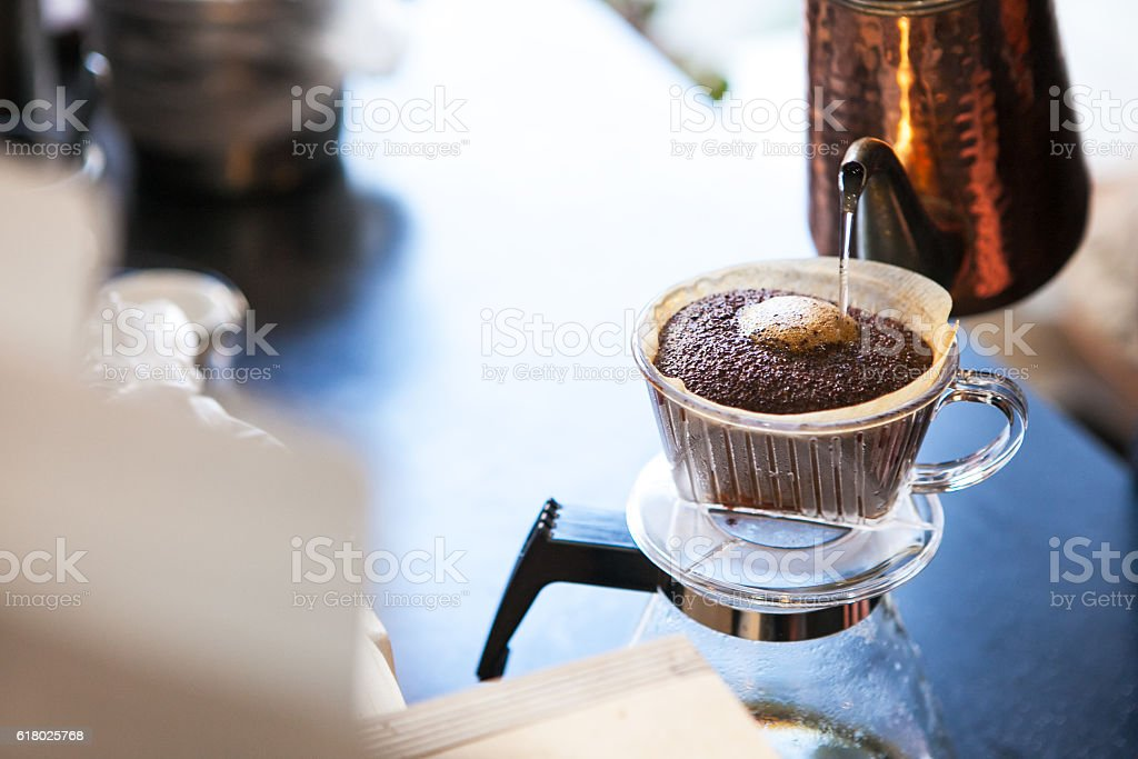 moment of coffee brewing stock photo