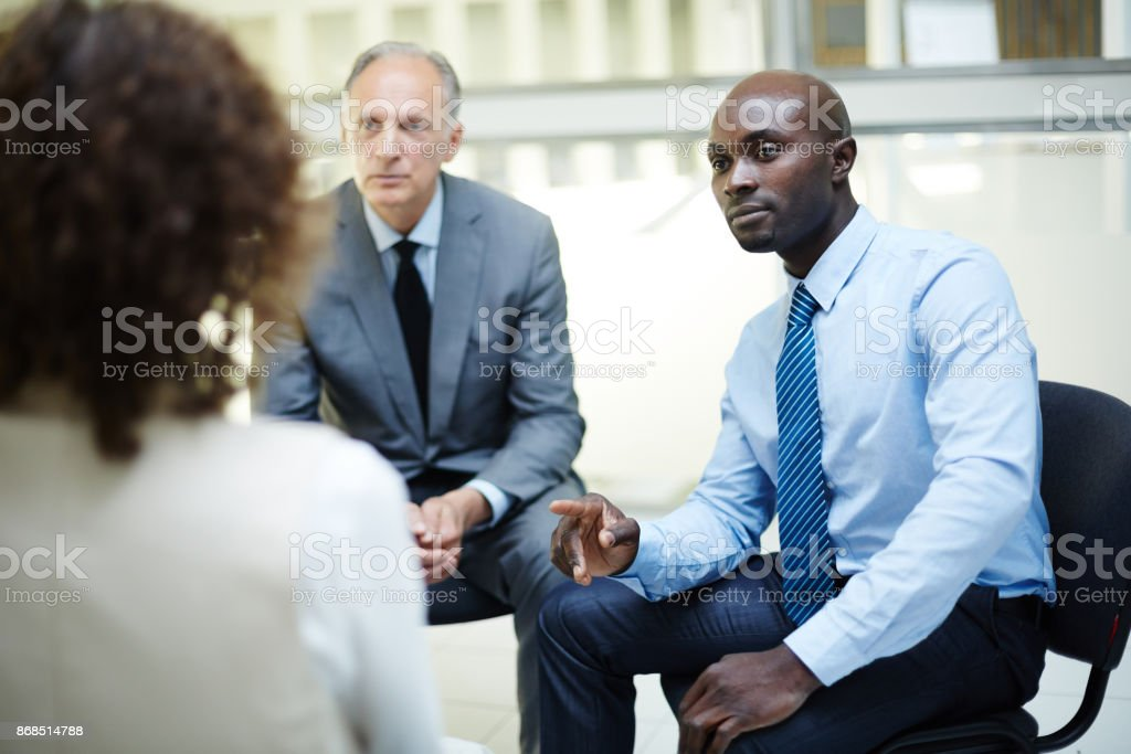 Moment of consulting stock photo