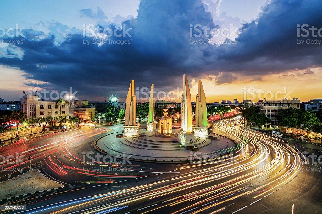 Moment of Democracy monument at Dusk (Bangkok, Thailand) stock photo