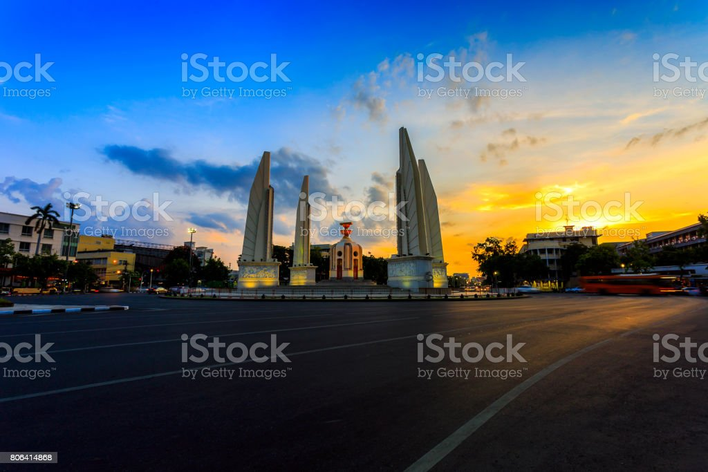 Moment of Democracy monument at Dusk (Bangkok, Thailand) stock photo