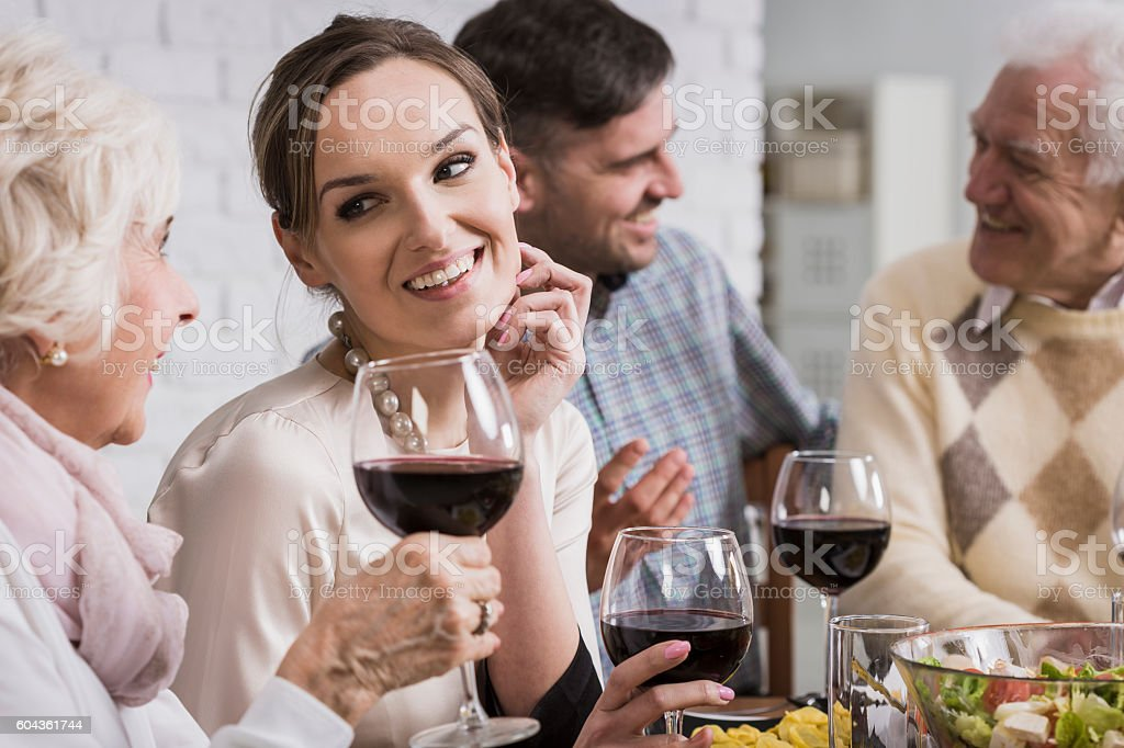 Moment of listening to the experience  of loved ones stock photo