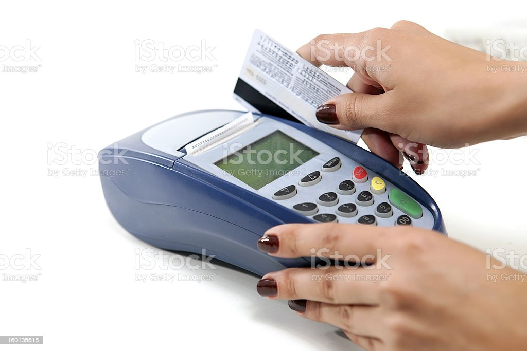 Moment of payment with credit card through terminal royalty-free stock photo