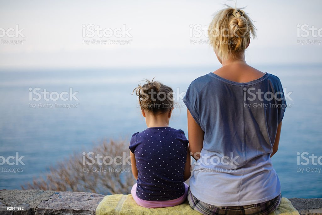 Moment of pleasure a mother and daughter stock photo
