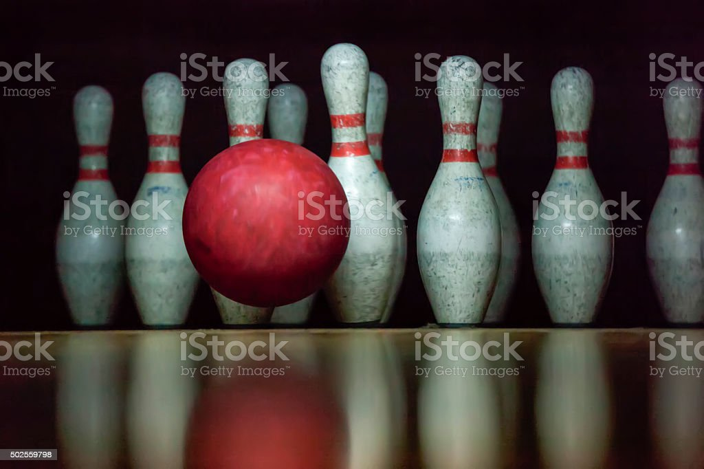 Moment of the Strike - Bowling stock photo