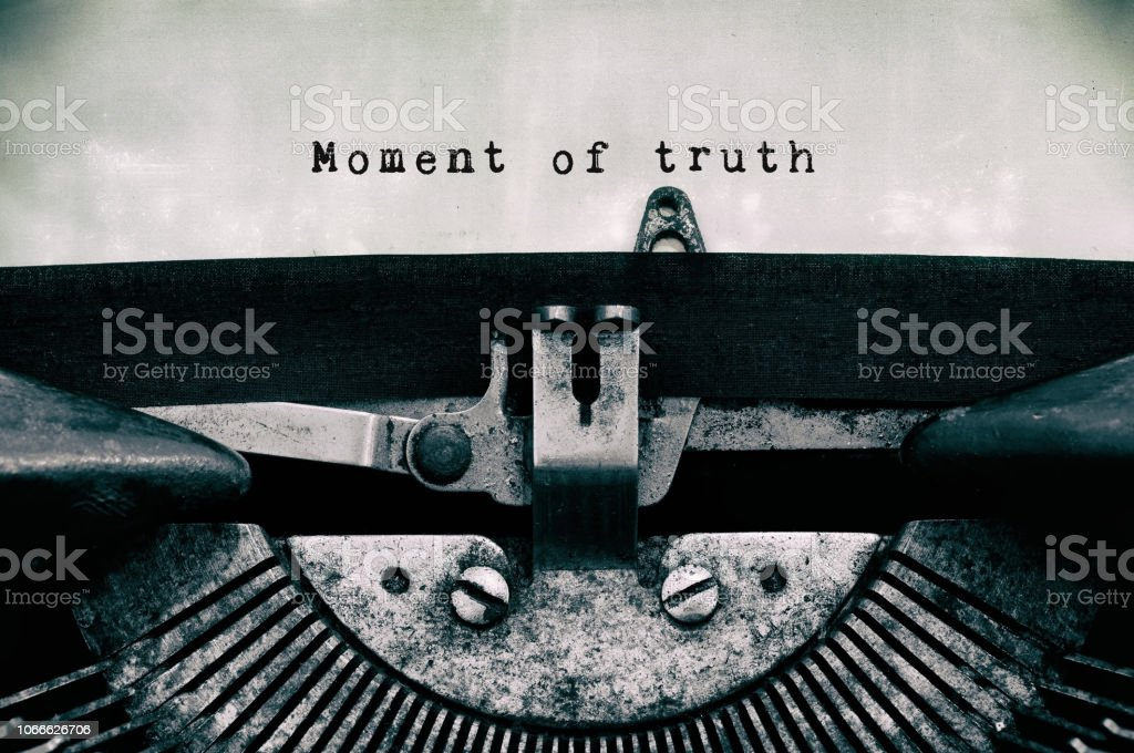Moment of truth stock photo